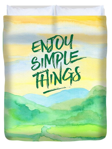 Enjoy Simple Things Rice Paddies Watercolor Painting Duvet Cover