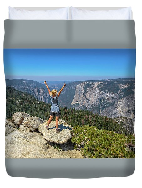Enjoying At Yosemite Summit Duvet Cover