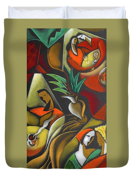 Duvet Cover featuring the painting Enjoying Food And Drink by Leon Zernitsky