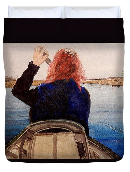 Duvet Cover featuring the painting Enjoying Nature by Betty-Anne McDonald