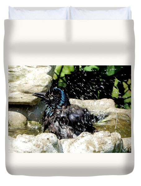 Duvet Cover featuring the photograph Enjoying The Bath by Betty-Anne McDonald