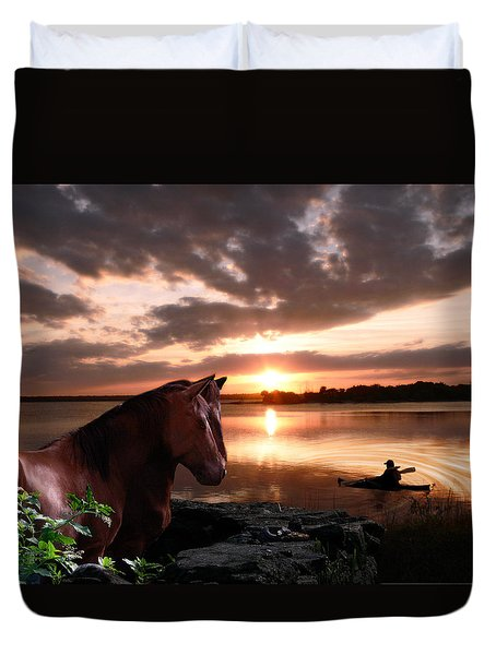 Enjoying The Sunset Duvet Cover