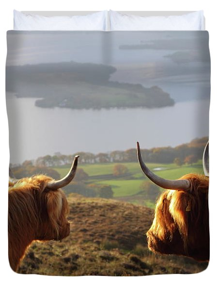 Enjoying The View - Highland Cattle Duvet Cover