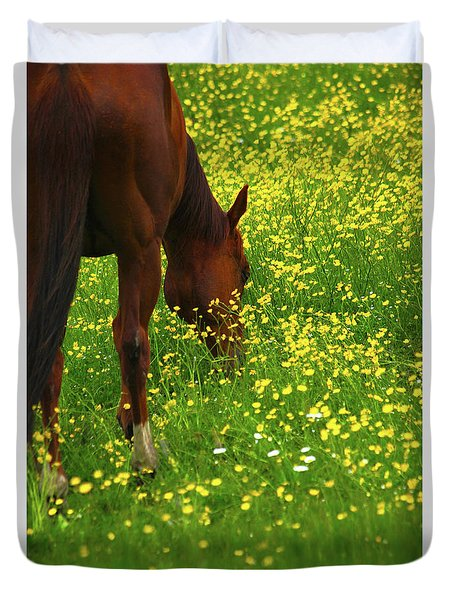 Duvet Cover featuring the photograph Enjoying The Wildflowers by Karol Livote