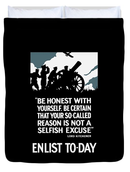 Enlist To-day - Lord Kitchener  Duvet Cover by War Is Hell Store