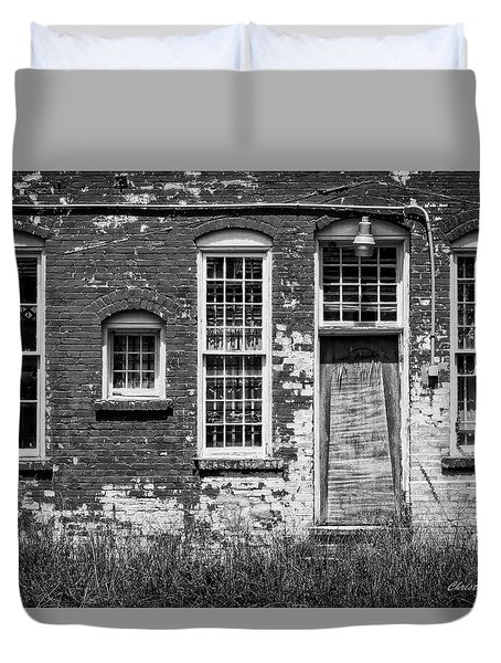 Duvet Cover featuring the photograph Enough Windows - Bw by Christopher Holmes