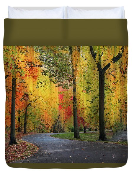Duvet Cover featuring the photograph  Ensconced In Autumn by Jessica Jenney