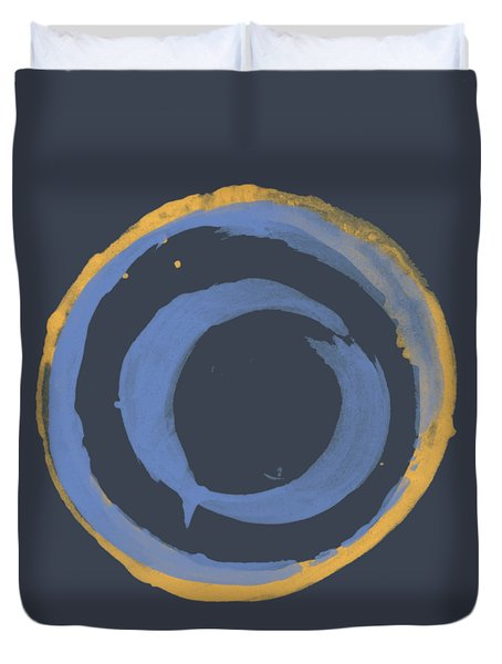 Duvet Cover featuring the painting Enso T Blue Orange by Julie Niemela