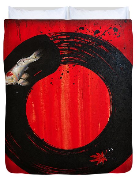 Enso With Koi Red And Gold Duvet Cover