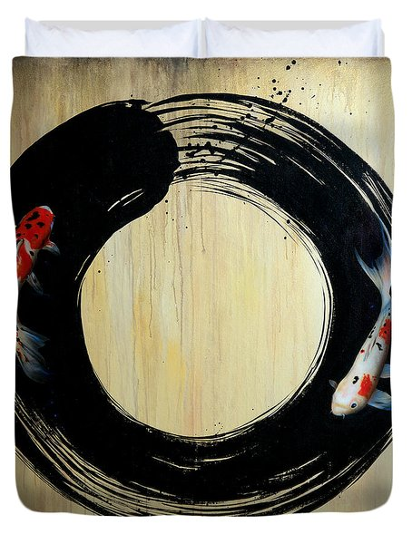 Enso With Koi Duvet Cover