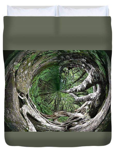 Duvet Cover featuring the photograph Enter The Root Cellar by Gary Smith