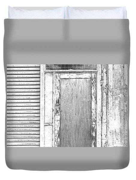 Entrance In Black And White And Grey Duvet Cover