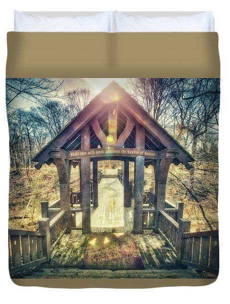Entrance To 7 Bridges - Grant Park - South Milwaukee  Duvet Cover by Jennifer Rondinelli Reilly - Fine Art Photography