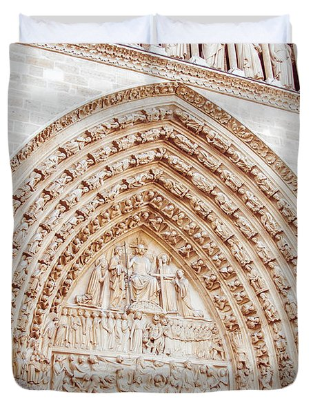 Entrance To Notre Dame Cathedral Duvet Cover