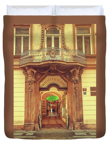 Duvet Cover featuring the photograph Entrance To Passage. Series Golden Prague by Jenny Rainbow