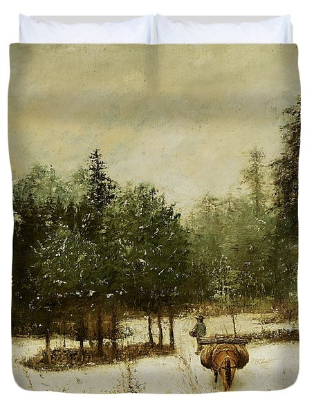 Entrance To The Forest In Winter Duvet Cover by Cherubino Pata