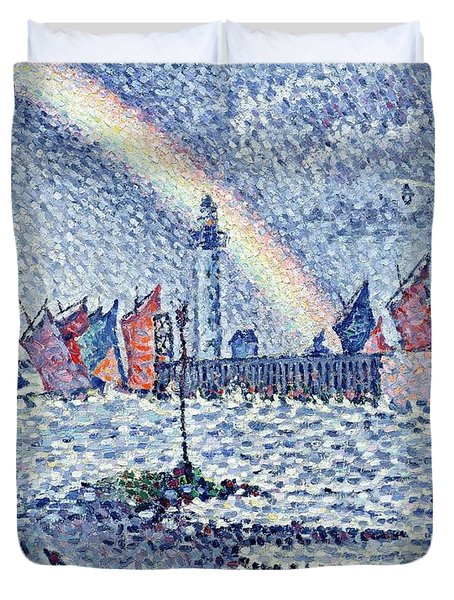 Entrance To The Port Of Honfleur Duvet Cover by Paul Signac