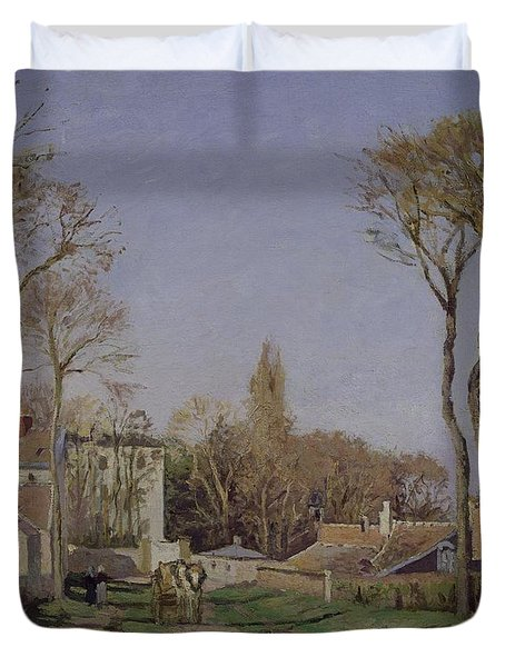 Entrance To The Village Of Voisins Duvet Cover by Camille Pissarro