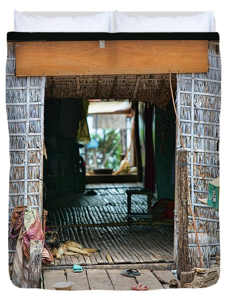 Entrance To Tonle Sap Home  Duvet Cover by Chuck Kuhn