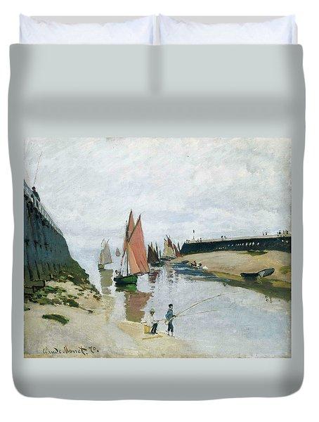 Entree Du Port De Trouville Duvet Cover by Claude Monet