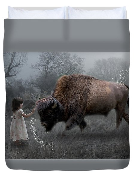 Duvet Cover featuring the mixed media Environmental Utopia by Marvin Blaine