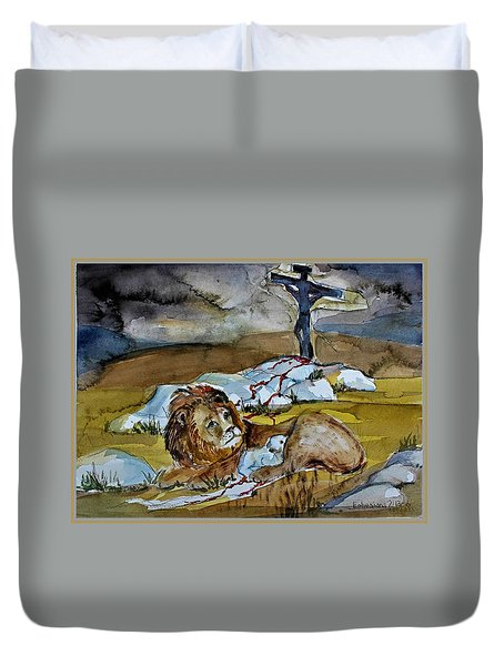 Duvet Cover featuring the painting Ephesians 2 13 by Mindy Newman