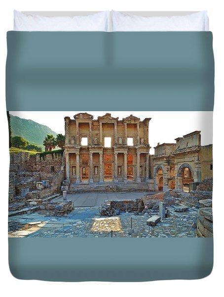 Ephesus Library Duvet Cover