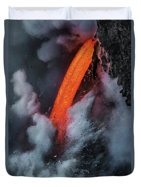 Epic Battle Between Lava And The Sea Duvet Cover