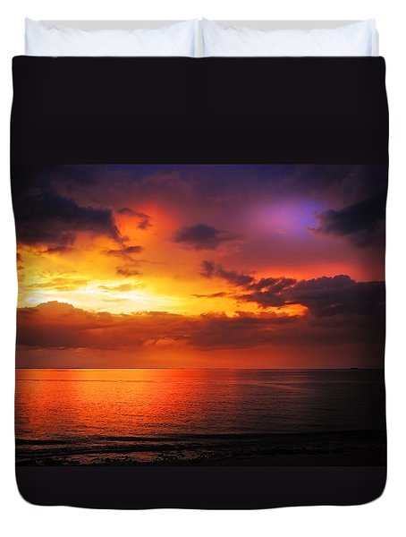Epic End Of The Day At Equator Duvet Cover by Jenny Rainbow