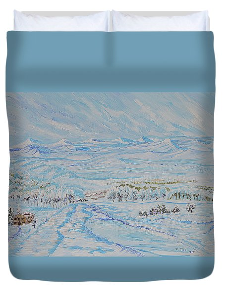 Epic Swiss Winter Duvet Cover by Felicia Tica