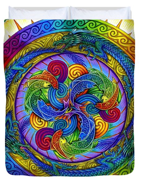 Psychedelic Dragons Rainbow Mandala Duvet Cover
