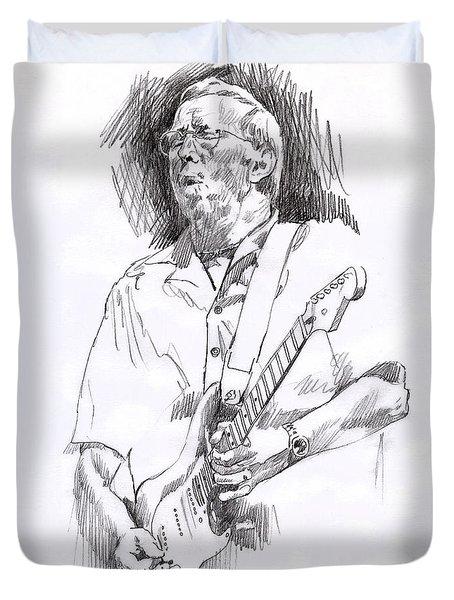 Eric Clapton Blue Duvet Cover by David Lloyd Glover