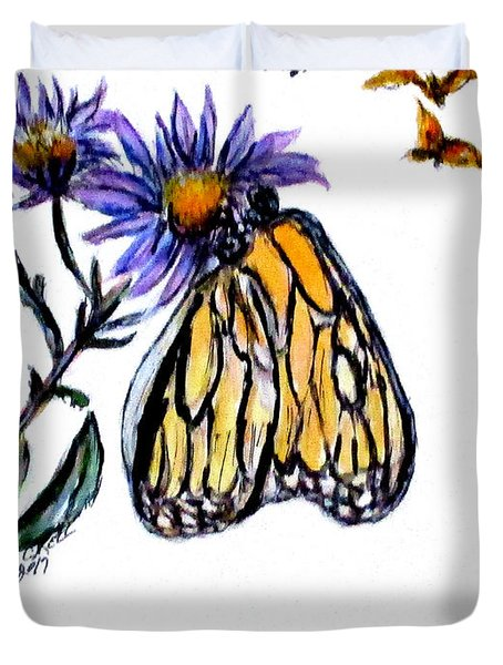 Erika's Butterfly One Duvet Cover by Clyde J Kell