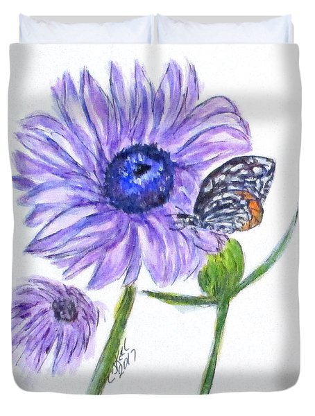 Erika's Butterfly Three Duvet Cover by Clyde J Kell