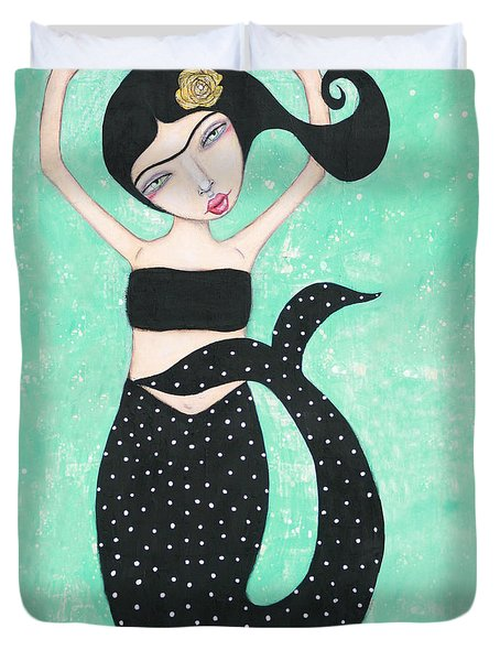 Duvet Cover featuring the mixed media Eris by Natalie Briney