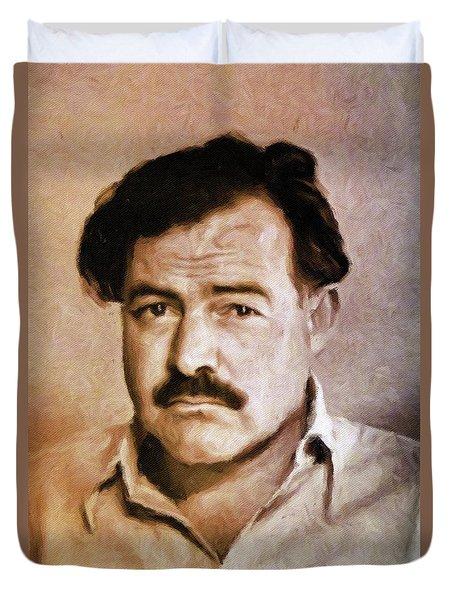 Ernest Hemingway, Literary Legend By Mary Bassett Duvet Cover