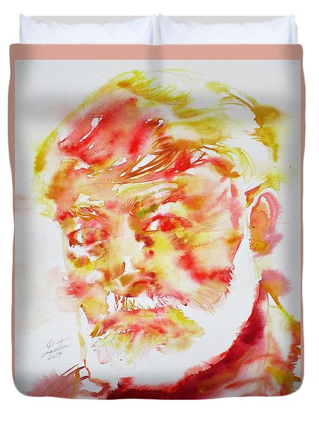 Ernest Hemingway - Watercolor Portrait.11 Duvet Cover by Fabrizio Cassetta