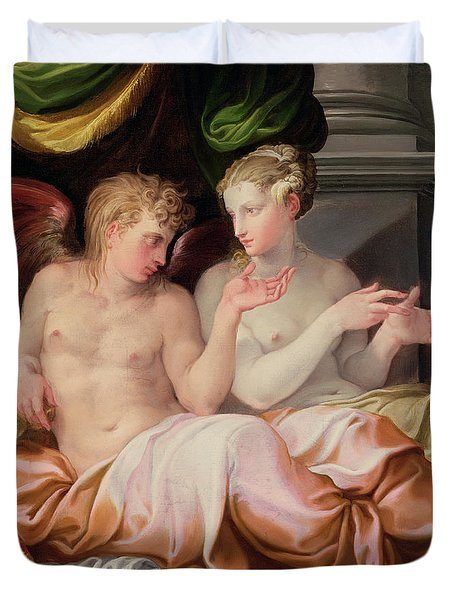 Eros And Psyche Duvet Cover by Niccolo dell Abate