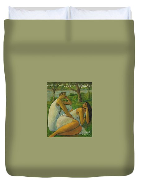 Eros And Rhea Duvet Cover by Glenn Quist
