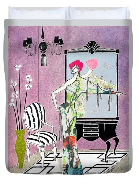 Erte'-esque -- Art Deco Interior W/ Fashion Figure Duvet Cover