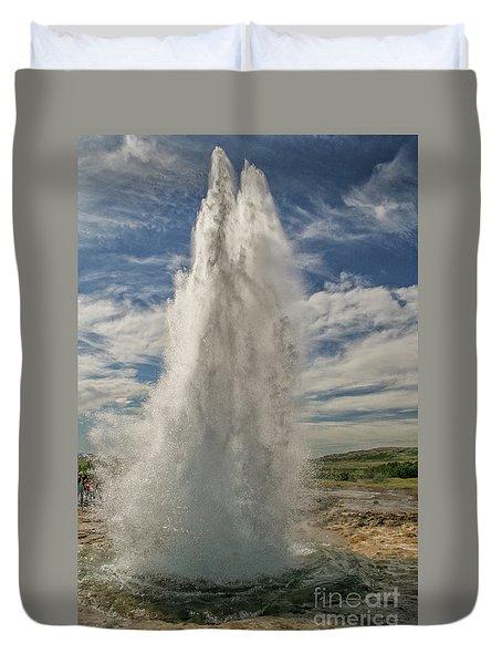 Erupting Geyser In Iceland Duvet Cover