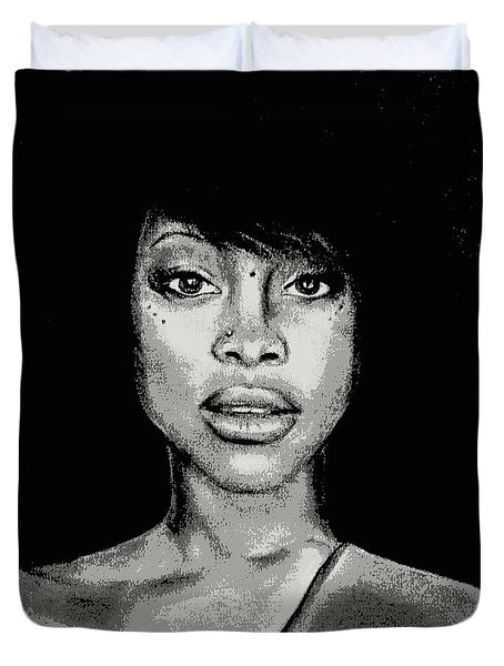 Erykah Baduism - Pencil Drawing From Photograph - Charcoal Pencil Drawing By Ai P. Nilson Duvet Cover