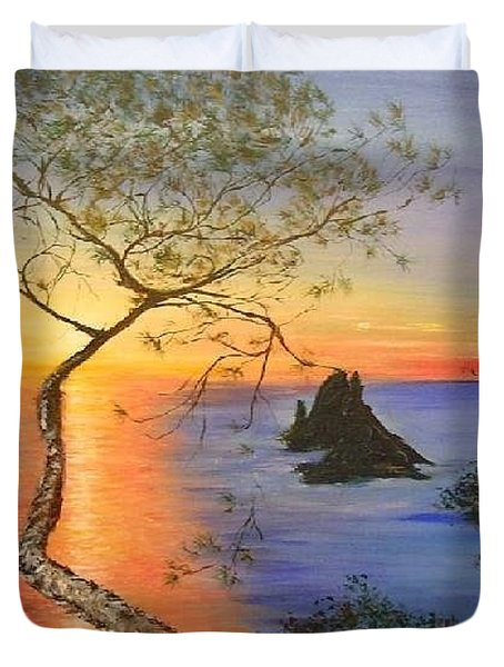 Es Vedra Island Off Ibiza South Coast Duvet Cover by Lizzy Forrester