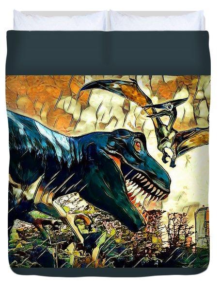 Escape From Jurassic Park Duvet Cover by Pennie  McCracken