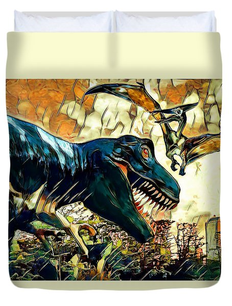 Escape From Jurassic Park Duvet Cover