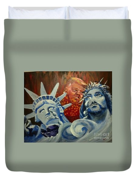 Duvet Cover featuring the painting Escape On Tears Of Love And Liberty by Saundra Johnson