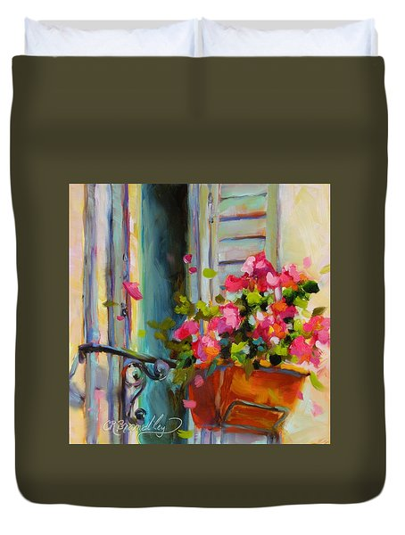 Duvet Cover featuring the painting Escape To France by Chris Brandley