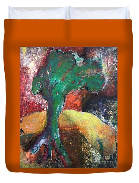 Duvet Cover featuring the painting Escaped The Blaze by Elizabeth Fontaine-Barr