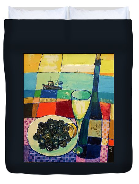 Duvet Cover featuring the painting Escargot by Mikhail Zarovny