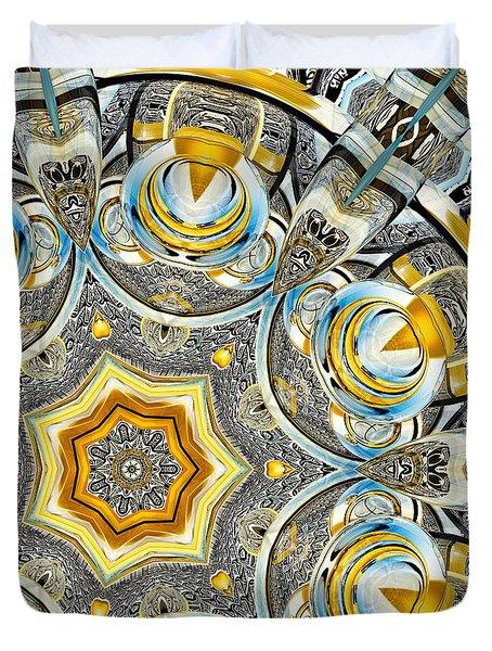Duvet Cover featuring the digital art Escher Glass Kaleido Abstract #1 by Peter J Sucy
